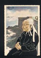 Charles HOMUALK -Aquarelle-En Parcourant La Bretagne- SAINT MALO-Vieille Bretonne-Edit GABY N° 19 - Homualk