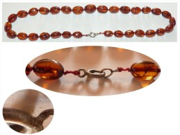 PRIX EN BAISSE ! COLLIER PERLES AMBRE NOEUDS FERMOIR ARGENT POIDS 30g - Necklaces/Chains