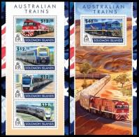 SOLOMON Isl. 2015 - Australian Trains. M/S + S/S - Solomoneilanden (1978-...)