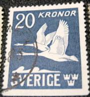 Sweden 1942 Birds - Swans 20k - Used - Oblitérés