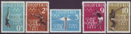 ALBANIA  - OLYMPIC TOKIO SET  - ATHLETIC - POLE  VAULT - SPEAR - BALL - TORCH - 1962 - **MNH