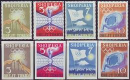 ALBANIA  - OLYMPIC TOKIO SET + IMPERF + Bl - ATHLETIC - STADIUM - TORCH - FLAGS - 1964 - **MNH