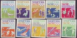 ALBANIA  - OLYMPIC TOKIO SET + IMPERF + Bl - ATHLETIC - CYCLING - FOOTBALL - CANOE - HOCKEY - 1964 - **MNH