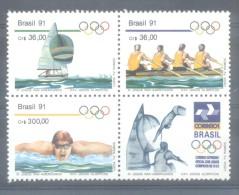 BRAZIL  BRASIL BRESIL  XIE JEUX SPORTIFS PANAMERICAINS AÑO 1991 MNH TBE AVEC VIGNETTE LABEL SANS VALEUR - Unused Stamps
