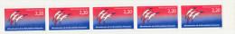 FRANCE N° 2560 2.20 BLEU ET ROUGE BICENTENAIRE DE LA REVOLUTION SANS SIGNATURE FOLON SUR LE 2EME TIMBRE BANDE DE 5** - Curiosities: 1980-89 Mint/hinged
