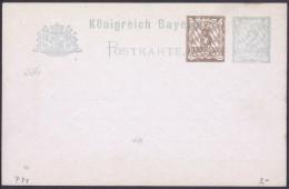 Bavaria Bayern Postal Stationery Postkarte Unused Bb - Bayern (Baviera)