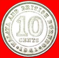 ★WITHOUT MINTMARK: MALAYA AND BRITISH BORNEO ★10 CENTS 1961! LOW START★NO RESERVE! - Malaysie