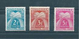 Timbres Taxe D´andorre De 1943/46  N°26 A 28  Neuf * Petite  Charnière - Ongebruikt