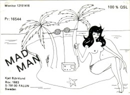 Nude Girl On An Ilsand On Very Old QSL Card From Kjell Björlund, Falun, Sweden (MAD MAN - PR 16544) - Year 1972 - CB