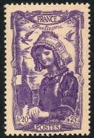 FRANCE 1943 - Yv. 594 ** TB Variété Papier GC Gris-jaunâtre - Coiffe Régionale Bretagne ..Réf.FRA27681 - Unused Stamps