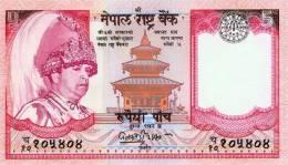 NEPAL FIVE RUPEES BANKNOTE KING GYANENDRA 2004 PICK-46 TYPE 2 UNC - Nepal