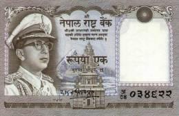NEPAL ONE RUPEE BANKNOTE KING MAHENDRA 1971 PICK-16 UNC - Nepal