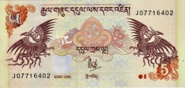 BHUTAN 5 NGULTRUM BANKNOTE 2006 PICK-28 UNCIRCULATED UNC - Bhoutan