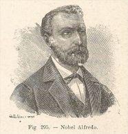 B1474 Alfred Bernhard Nobel - Incisione Antica Del 1928 - Engraving - Prints & Engravings