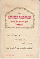 Paris, Château De Madrid, Carte Des Vins(2 Scans), 8 Pages 1925 - Menus
