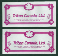 "Test note ""TRITON CANADA"" Testnote, Typ C, 20 Units,, pink, beids. Druck, Sample, RRR, UNC"