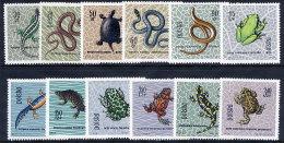 POLAND 1963 Reptiles And Amphibians Set Of 12 MNH / **.  Michel 1393-1404 - 1944-.... Republic