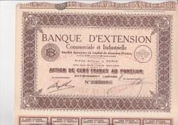 LOT DE 5 ACTIONS DE 100 FRS -BANQUE D'EXTENSION COMMERCIALE ET INDUSTRIELLE -1935 - Banque & Assurance