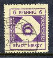NIESKY 1945 (July) 6 Pfg. Local Issue, Used.  Michel 1 - Soviet Zone