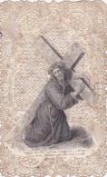 Image Pieuse Tissus-canivet, Dentelle-christ Portant Sa Croix-edi Bouasse Lebel N°671 - Images Religieuses