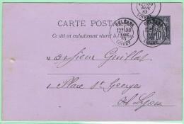 SA4. 10c Type Sage. N° G5.  Orléans - Entiers Postaux