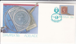 1986 AUSTRALIA ADELAIDE STAMPEX Postal STATIONERY  EVENT Pmk ´ UPU DAY  ´ Cover Stamps - Postal Stationery