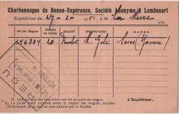 BELGIUM Carte D'expédition Charbonnages De Bonne Espérance LAMBUSART Vers Société La MURE Marcophilie - Fleurus