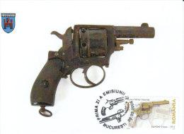 Rumänien  2008  MiNr. 6272 Maximumkarte  Schußwaffen:  8- Mm- Revolver - Maximumkarten (MC)