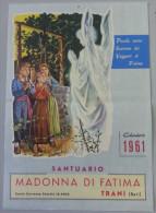 SANTUARIO MADONNA DI FATIMA _ TRANI  /  CALENDARIO  ANNO 1961  _ Formato 24 X 34 Cm. - Calendari