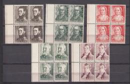 Nederland  1941 NVPH Nr 392 - 396 Mi Nr  392 - 396 Zomerzegels:  Blokken Van 4 - Periodo 1891 – 1948 (Wilhelmina)