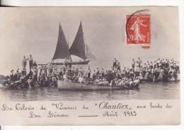 """Carte Postale Photo LAC LEMAN (Haute-Savoie-SUISSE-Vaud-Valais-Genève) Colonie Vacances Du """"Chantier""""-Bâteau-Voilier - Andere Gemeenten"""