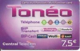 CARTE PREPAYEE-7.5€-CENTRAL TELECOM-TONEO-V°CAdre Prix Gris-31/12/2012-T BE - Frankrijk