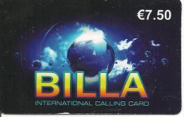 CARTE-PREPAYEE-7.5€-BILLA-GLOBE-V°BLEU-Marine- TRES GRANDS N° TELEPHONES-31/12/2012-BE- - France