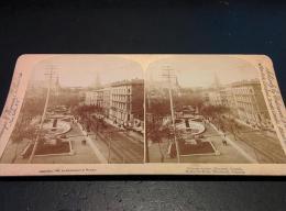 Victoria Square, Montreal, Canada - & Stereo Card, Tram - Stereoscopische Kaarten