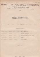 ISTITUTI DI PEDAGOGIA SCIENTIFICA - ROMA - SCHEDA BIOTIPOLOGICA  IN BIANCO - ANNI 40 - SEDE VILLA TORLONIA - ROMA - Vecchi Documenti