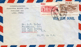 G)1957 PERU, ENGINEERING SCHOOL-PARAMONGA, INCA RUINS, AIRMAIL, CIRCULATED COVER TO N.Y., USA - Peru