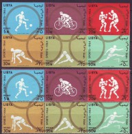 LIBIA  - OLYMPIC  SET + BL   - SWIMING - GYMNASTICS - CYCLING - BOX - FOOTBALL - 1964 - **MNH - Ciclismo