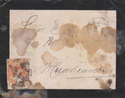 G)1893 PERU, COAT OF ARMS 5 CTS., CIRC. LIMA CANC., CIRCULATED MORTUARY COVER TO HUANCAVELICA, F - Peru