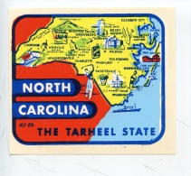 Etats Unis : NC Notrh Carolina - The Tarheel State (autocollant Géographique) - Etats-Unis