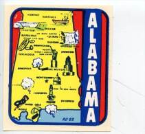 Etats Unis : AL Alabama (RD 88°) Autocollant Géographique - Etats-Unis