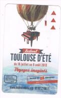 titre de transport m�tro ticket  collector 2013 TOULOUSE d'�t� dirigeable ballon festival voyages magie piano bus tram