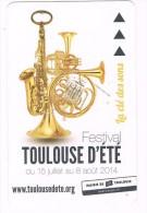 titre de transport m�tro TOULOUSE collector 2014 instrument  musiquesaxophone festival d'�t� bus tram m�tropolitain