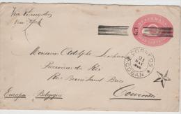 Gua055/Ganzsache 5 Mit Strichstempel-Entwertung Nach Belgien 1891 - Guatemala