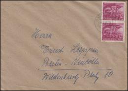 908 Volkssturm 2x 12 Pf Senkrechtes Paar MeF Brief RADEBEUL 19.2.45 Nach Berlin - Germania