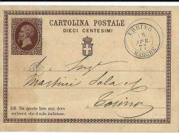 INTERO REGNO VITTORIO EMANUELE II 10 C 1877 URBINO X TORINO - Stamped Stationery