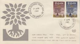 Enveloppe   1er  Jour     CEYLAN    Année  Mondiale  Du   Réfugié  1960 - Sri Lanka (Ceylon) (1948-...)