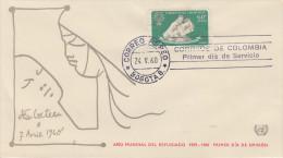 Enveloppe   1er  Jour     COLOMBIE    Année  Mondiale  Du   Réfugié  1960 - Colombie