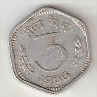 *india 3 Paisa 1966b  Km 14.1    Xf+ - Inde