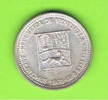 VENEZUELA - 50  Centimos  1960  KM36a  PLATA - Venezuela