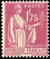 France Type Paix N°  289 ** De La Première Série Le 1fr75 Rose-lilas - 1932-39 Paix